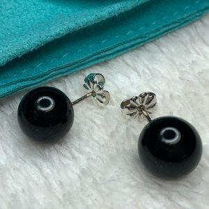 Tiffany & Co. black onyx earrings w/ pouch